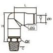 3809/3909 Угловой фитинг с ниппелем, наружная резьба BSPT