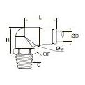 3889/3989 Компактный угловой фитинг с ниппелем, наружная резьба BSPT
