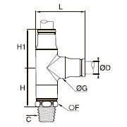 3803/3903 Т-образный фитинг с боковым отводом и ниппелем, наружная резьба BSPT