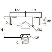 3808/3908 Т-образный фитинг с ниппелем, наружная резьба BSPT