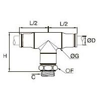 3898/3998 Т-образный фитинг с ниппелем, наружная резьба BSPP и метрическая