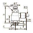 7060 Компактный регулятор расхода на выхлопе, наружная резьба BSPP