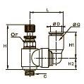 7640 Миниатюрный регулятор расхода на выхлопе с поворотным соединением, наружная резьба BSPP и метрическая