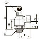 7110 Компактный регулятор расхода на выхлопе, наружная/внутренняя резьба BSPP резьба