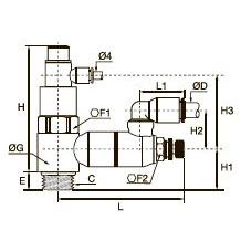 7894 Управляемый обратный клапан с регулятором расхода и функцией выхлопа, наружная резьба BSPP