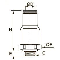 7984 Продольный обратный клапан, подача, наружная резьба BSPP и метрическая