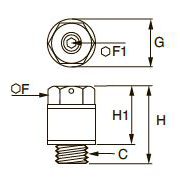 0676 Заглушка из полимера с функцией регулировки расхода, наружная резьба BSPP и метрическая