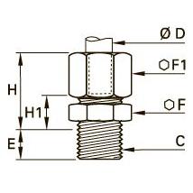 0101 Штуцер ввертный с уплотнительной шайбой в оправе, наружная резьба BSPP и метрическая