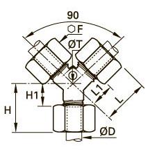 0142 Тройник Y-образный проходной с монтажным приливом