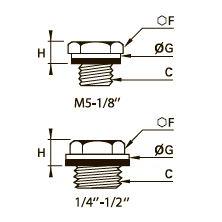 0220 Заглушка с шестигранной головкой, уплотнительная шайба в оправе, наружная резьба BSPP и метрическая резьба