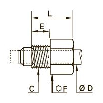 0112 Гайка длинная зажимная для компрессионного фитинга, наружная метрическая резьба