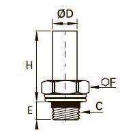 0128..39 Штуцер с отводом, уплотнение из двух материалов, наружная резьба BSPP