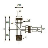 RBPL T-образный тройник ввертный с боковым отводом, наружная резьба NPT
