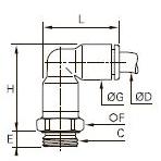 3169 Угольник ввертный удлиненный, наружная резьба BSPP и метрическая