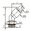 3133 Угольник ввертный, угол 45°, наружная резьба BSPP и метрическая