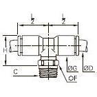 3108 Тройник ввертный симметричный, наружная резьба BSPT