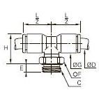 3198 Тройник ввертный симметричный, наружная резьба BSPP и метрическая
