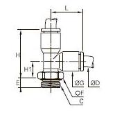 3193 Тройник ввертный с боковым отводом, наружная резьба BSPP и метрическая