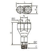 3148 Тройник ввертный Y-образный, наружная резьба BSPT