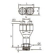 3158 Тройник ввертный Y-образный, наружная резьба BSPP и метрическая