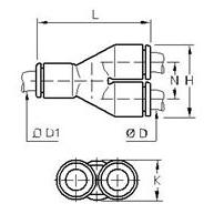 3140 Тройник Y-образный проходной и переходный