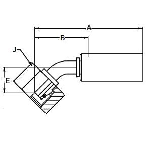 10C8X – Метрический внутренний вертлюжного соединения тяжелой серии с кольцевым уплотнением, угловой фитинг 45° ISO 12151-2