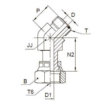 V6LO Фитинг угловой 45° со стяжной гайкой