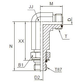 CC87OMLO Фитинг ввертной угловой регулируемый удлинённый. Сталь Сталь
