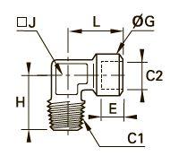 0144 Компрессионное колено для труб равного сечения, наружная резьба BSPT/внутренняя BSPP