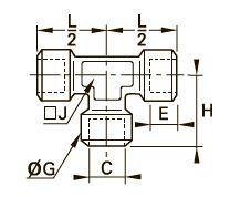 0145 Тройник для труб равного сечения, внутренняя резьба BSPP