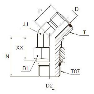 V87OMLO 45° Фитинг ввертной угловой 450 регулируемый. Сталь