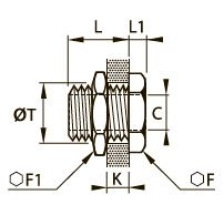 0117 Фитинг с головкой для труб равного сечения, внутренняя резьба BSPP и метрическая
