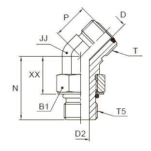 V5OMLO Фитинг ввертной угловой 45° регулируемый. Сталь