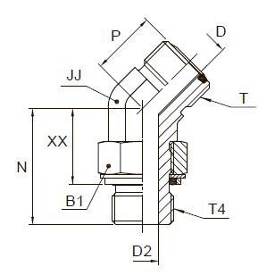 V4OMLO Фитинг ввертной угловой 45° регулируемый. Сталь