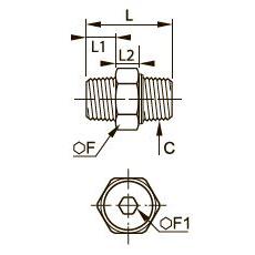 0929 Трехэлементный переходник для труб равного сечения, наружная резьба BSPT