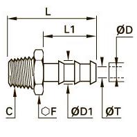 0123 Концевой переходник для резиновых шлангов, наружная резьба BSPT