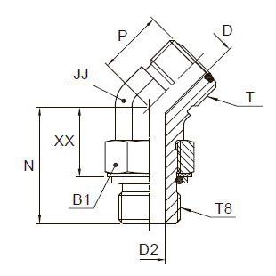 V8OMLO 45° Фитинг ввертной угловой 45° регулируемый. Сталь