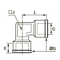 0912 Компрессионное колено для труб равного сечения, внутренняя резьба BSPP и метрическая