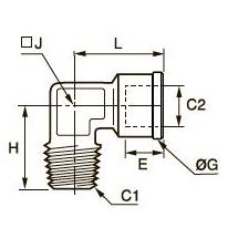 0913 Компрессионное колено для труб равного сечения, наружная резьба BSPT/внутренняя BSPP