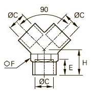 0910 Y-образный переходник для труб равного сечения, внутренняя резьба BSPP