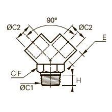 0911 Y-образный переходник для труб равного сечения, наружная резьба BSPT/внутренняя BSPP