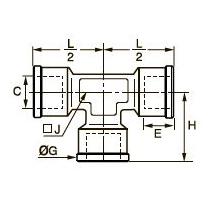 0915 Тройник для труб равного сечения, внутренняя резьба BSPP и метрическая