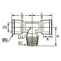 0916 Компрессионный тройник для труб равного сечения, наружная резьба BSPT/внутренняя BSPP