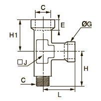 0924 Компрессионный тройник для труб равного сечения с боковым отводом, внутренняя/наружная метрическая резьба