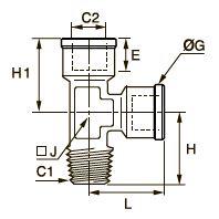 0917 Компрессионный тройник для труб равного сечения с боковым отводом, наружная резьба BSPT/внутренняя BSPP