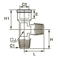 0932 Компрессионный тройник для труб равного сечения с боковым отводом, наружная резьба BSPT/внутренняя BSPP