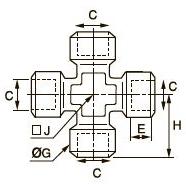 0908 Крестовина для труб равного сечения, внутренняя резьба BSPP