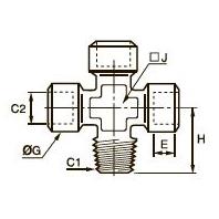 0909 Крестовина для труб равного сечения, наружная резьба BSPT/внутренняя BSPP