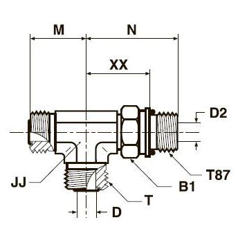 R87OMLO Проходной тройник ввертной регулируемый с наружной резьбой. Сталь