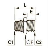 0192 Прямой переходник для труб равного/разного сечения, наружная резьба BSPT/BSPP